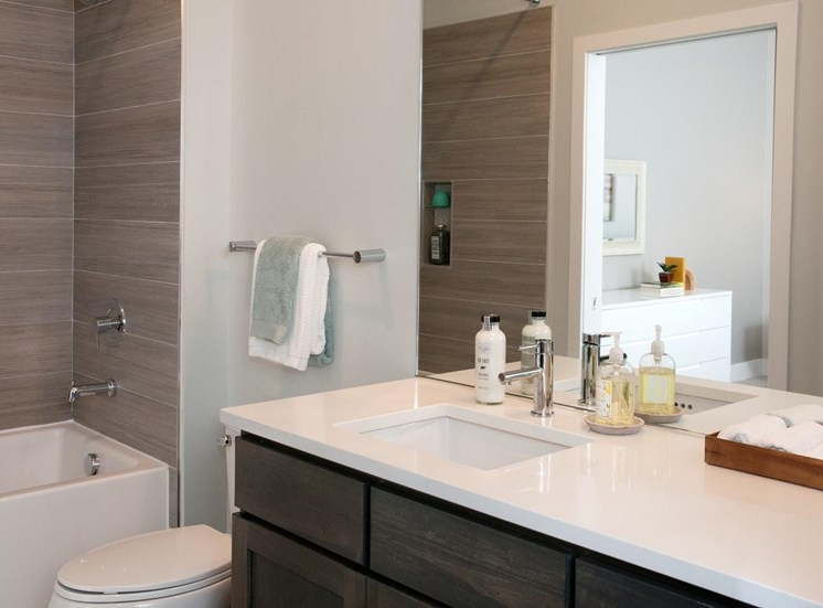 Custom Framed Bathroom Mirrors at The Finn Apartments, St. Paul, MN