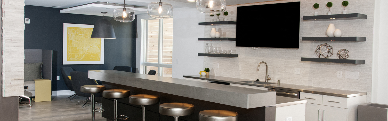 Large Interactive Clubhouse With Gourmet Demonstration Cooking Kitchen And  Fireplace At The Finn Apartments, St