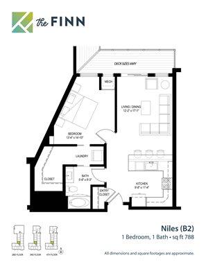 Floor plan at The Finn Apartments, St. Paul, MN 55116
