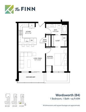 Floor plan at The Finn Apartments, St. Paul, 55116