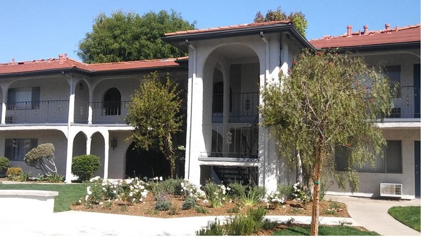 San Gabriel, CA Apartments - Exterior View of Villa Tramonti Apartments Surround By Lush Landscaping
