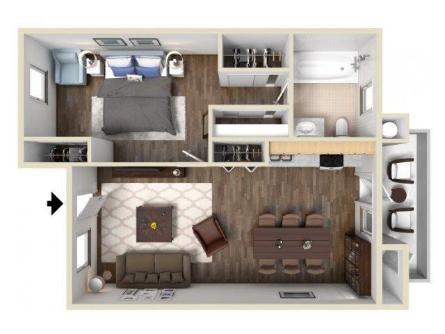 1 Bedroom 1 Bath floor plan.