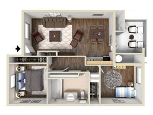 2 Bedroom 1 Bath floor plan.