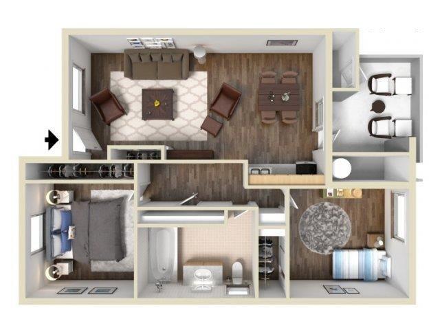 2 Bedroom 1 Bath floor plan.