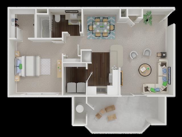 one  bedroom floor planl Oak Brook Apartments in Rancho Cordova CA