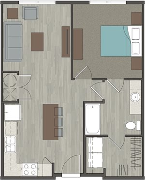 Lofts at Monroe | 1 Bedroom, 1 Bathroom 666 Sq. Ft.