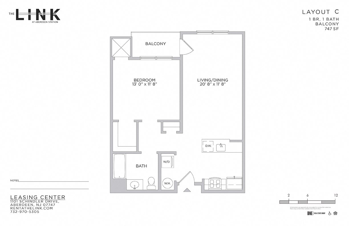 the link at aberdeen station, mixed use building, luxury rentals, aberdeen matawan train station, floor plan, 1 bedroom