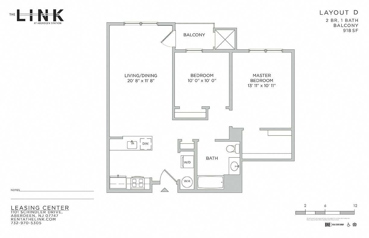 the link at aberdeen station, mixed use building, luxury rentals, aberdeen matawan train station, floor plan, 2 bedroom