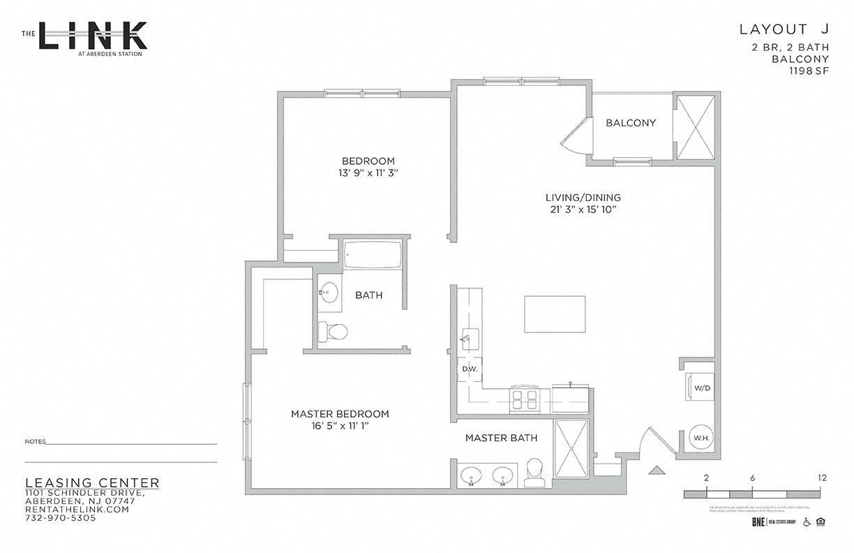 the link at aberdeen station, mixed use building, luxury rentals, aberdeen matawan train station, floor plan, 2 bedroom with balcony