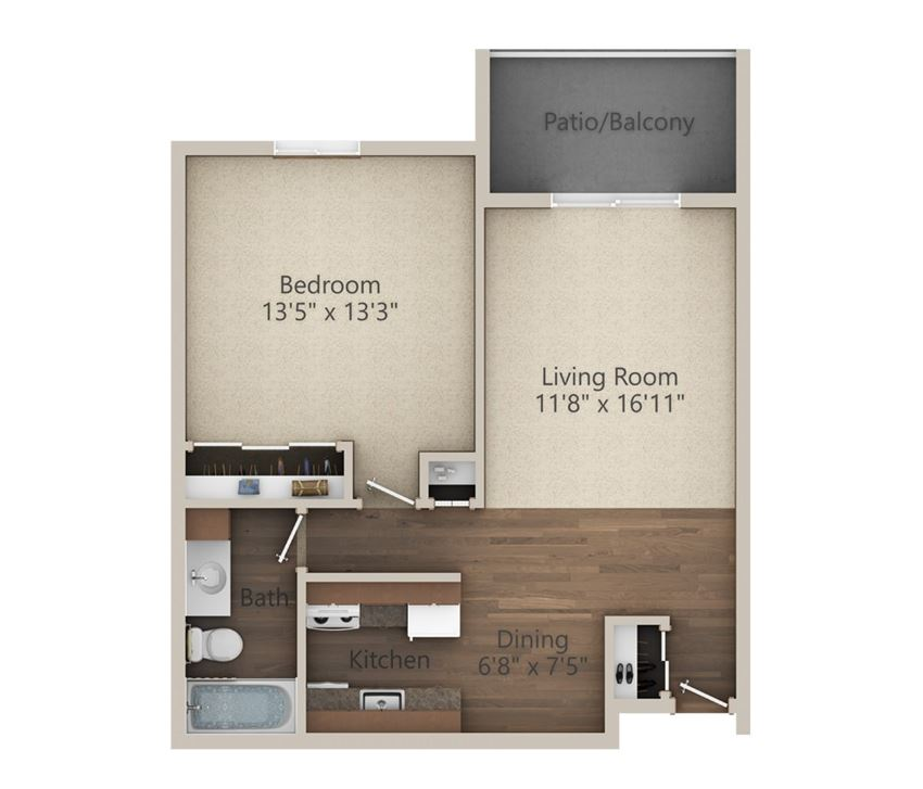 1 Bedroom (649 sq ft)