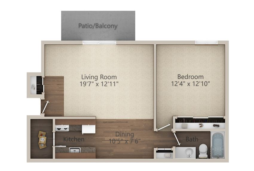 1 Bedroom (677 sq ft)
