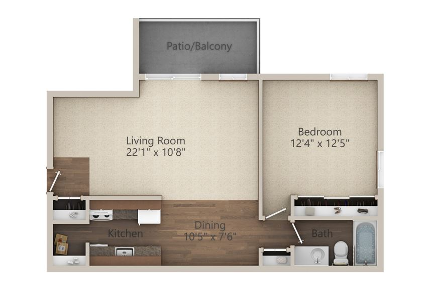 1 Bedroom (687 sq ft)