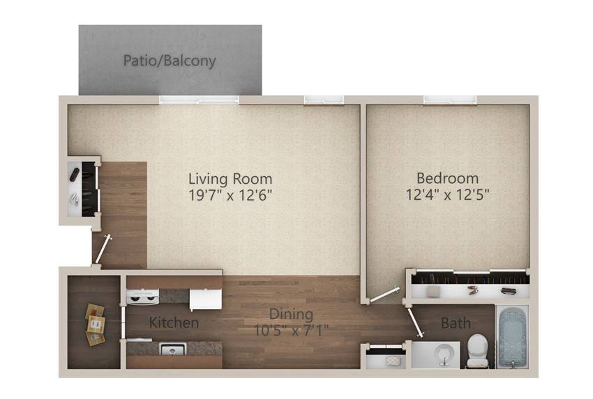 1 Bedroom (700 sq ft)