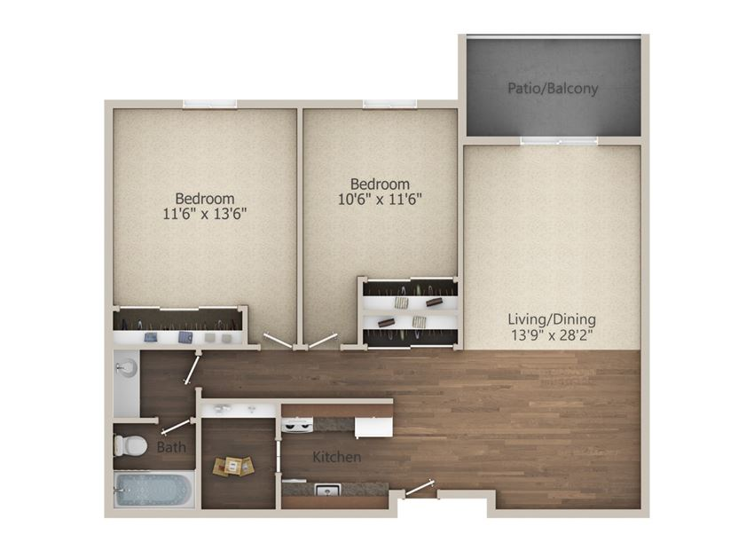 2 Bedroom (909 sq ft)