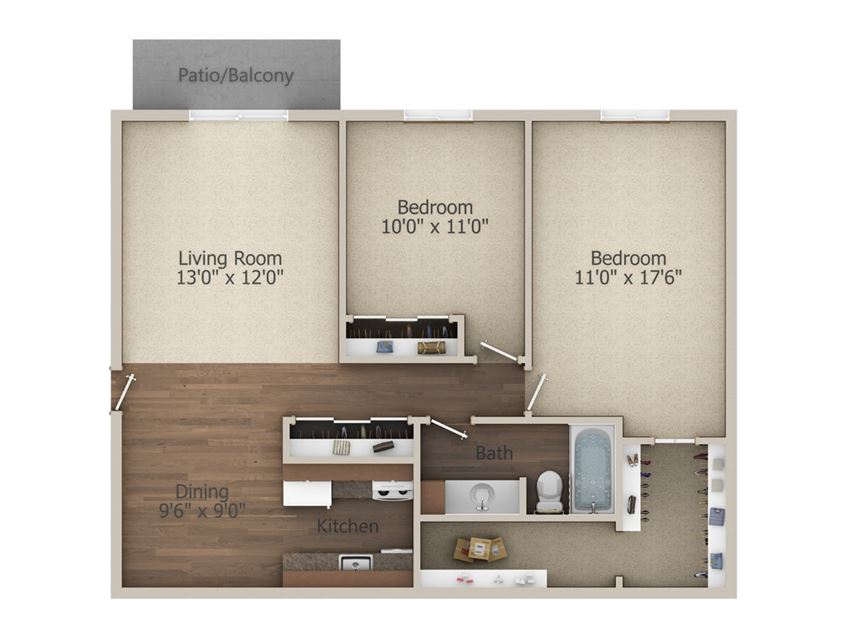 2 Bedroom (910 sq ft)