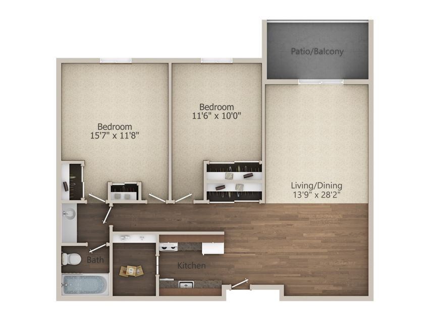 2 Bedroom (944 sq ft)