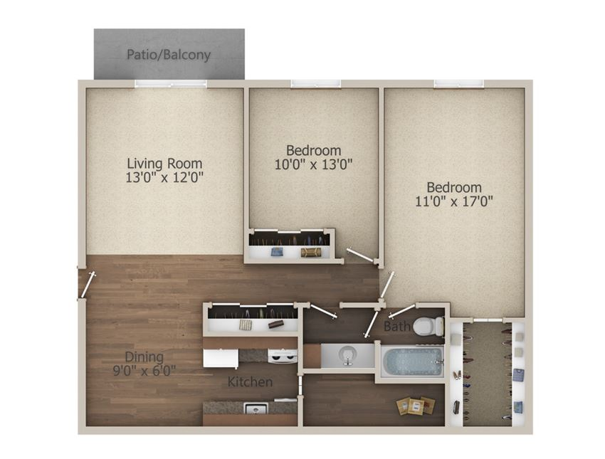 2 Bedroom (952 sq ft)