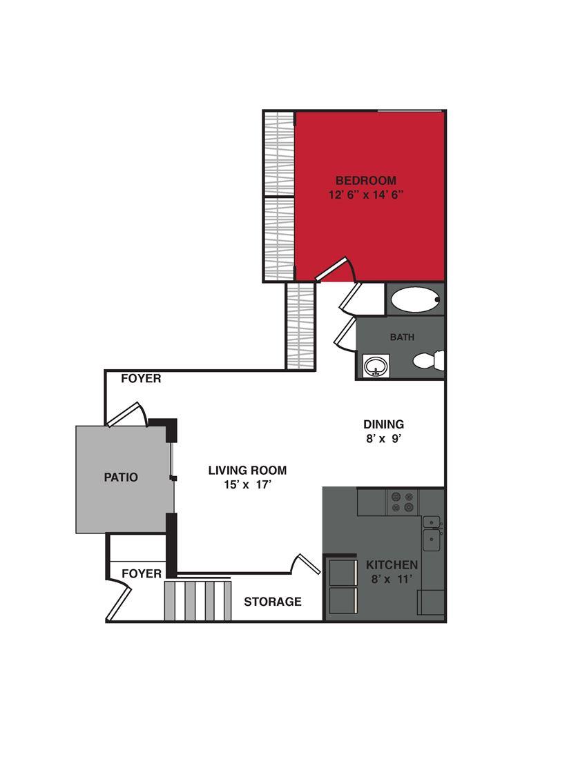 1 Bed 1 Bath (840 sq ft) Floor Plan at Stonewood Village Apartments, Madison