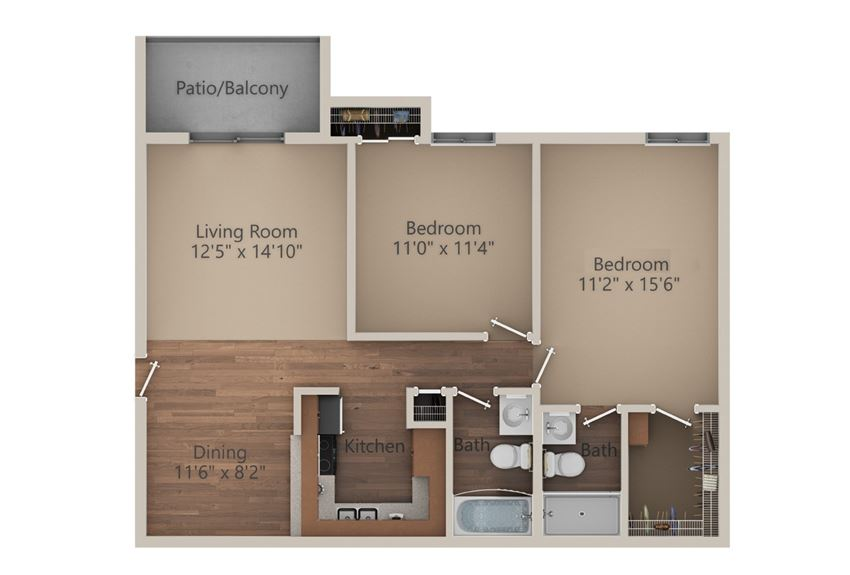 2 Bed 2 Bath (950 sq ft) Floor Plan at Whisper Hollow Apartments, Maryland Heights
