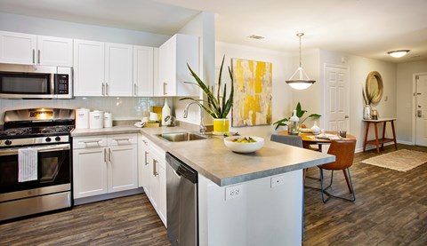 Lawrence Township NJ Apartments - The Mercer at Lawrence Station Apartments Kitchen With Spacious Countertop & Wood-Style Flooring