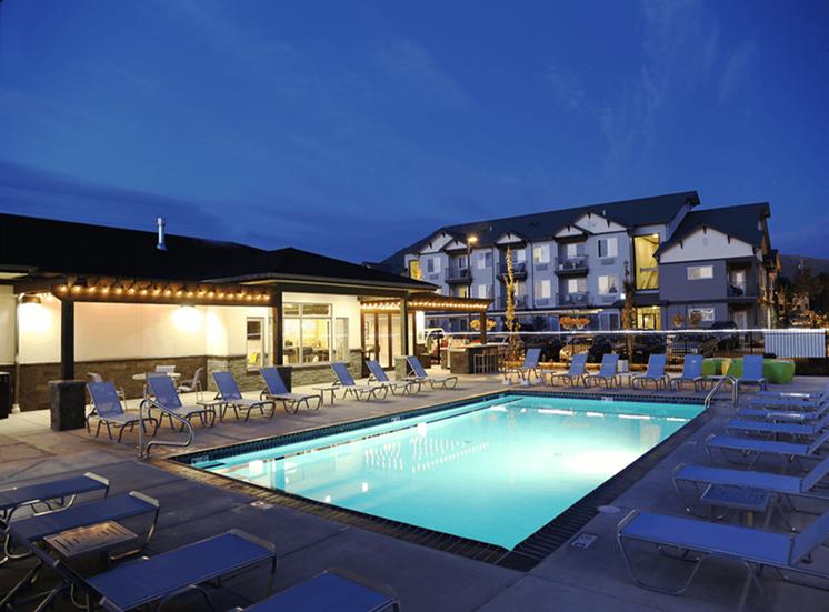 Night View Of Pool at Corso Apartments, Missoula, MT, 59801