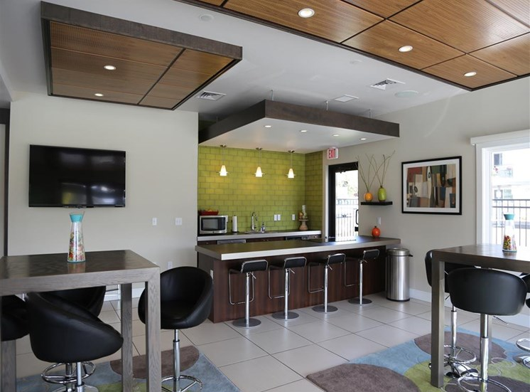 Eat-In Table With High Chairs In Clubhouse at Corso Apartments, Missoula, 59801