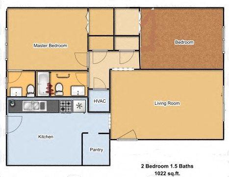 Large 2 Bedroom 1.5 Bath Unit Floor Plan 1