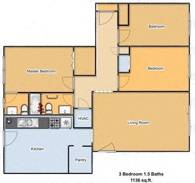 Large 3 Bed 1 And A Half Bath Unit Floor Plan 2