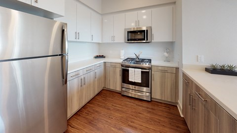 Modern kitchen with stainless steel appliances - The Roy Apartments