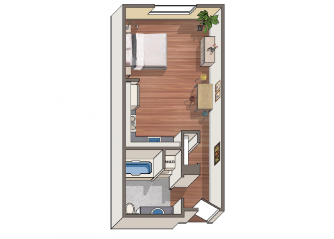 The Alessi Studio floor plan at 1801 L | Sacramento, CA 95811
