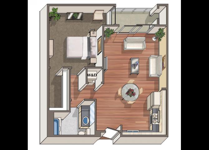 The Capeaux 1x1 floor plan at 1801 L | Sacramento, CA 95811