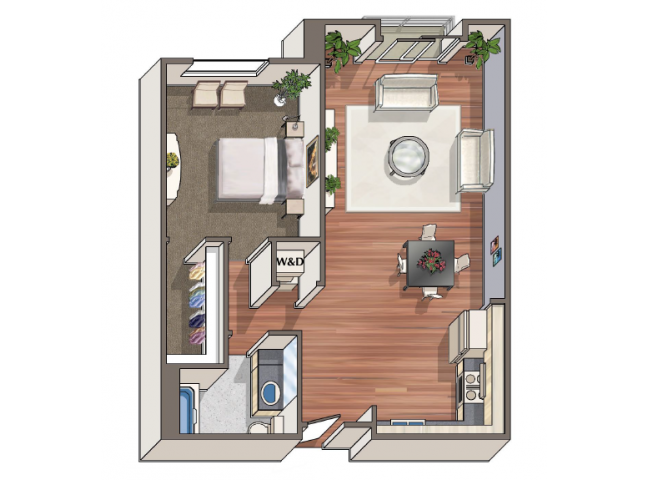 The Clemente 1x1 floor plan at 1801 L | Sacramento, CA 95811