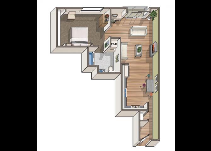 The Courbet 1x1 floor plan at 1801 L | Sacramento, CA 95811