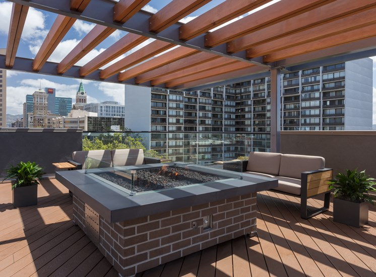 Luxury Apartments for Rent in Oakland, CA - 777 Broadway Luxury Rooftop Fireplace