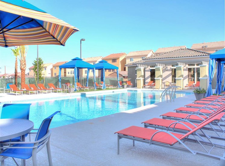 Pool, outdoor furniture, and cabanas on a beautiful day