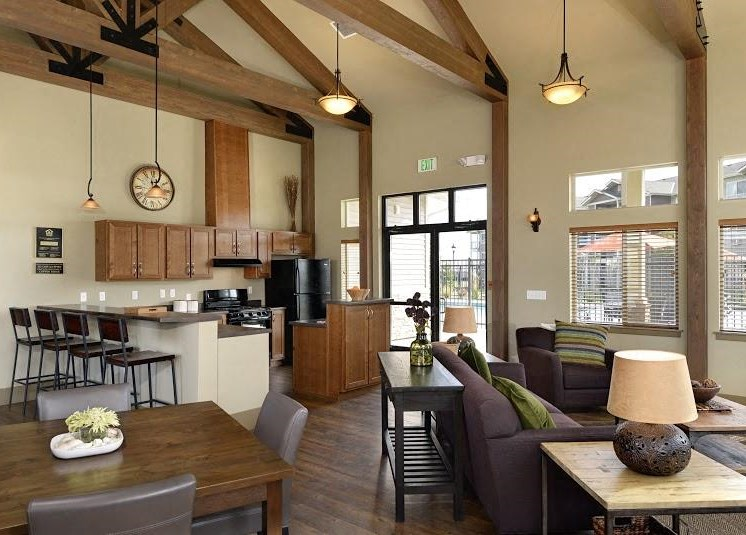 Clubhouse with seating and Kitchen Parker Co Apt Rentals at Copper Steppe Apts