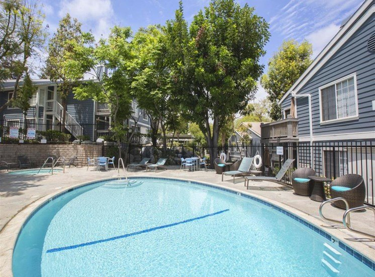 Pool with Lounge Chairs San Pedro CA 90723 Apartments for Rent - Harborview Apartments Swimming Pool