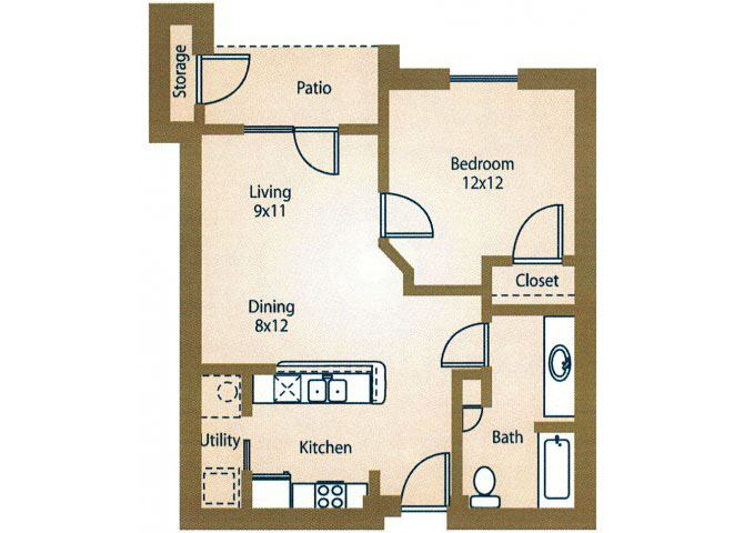 One Bedroom Floor Plan Apts Luxe at 1300 Apartments l Waco, TX 76760