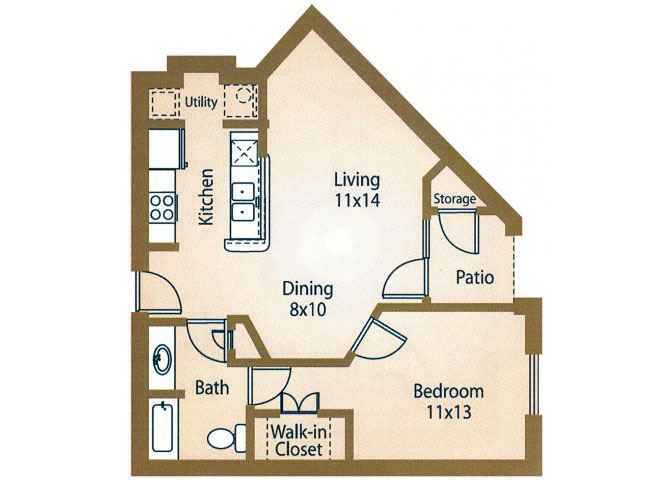1x1 Floor Plan Apts Luxe at 1300 Apartments l Waco, TX 76760