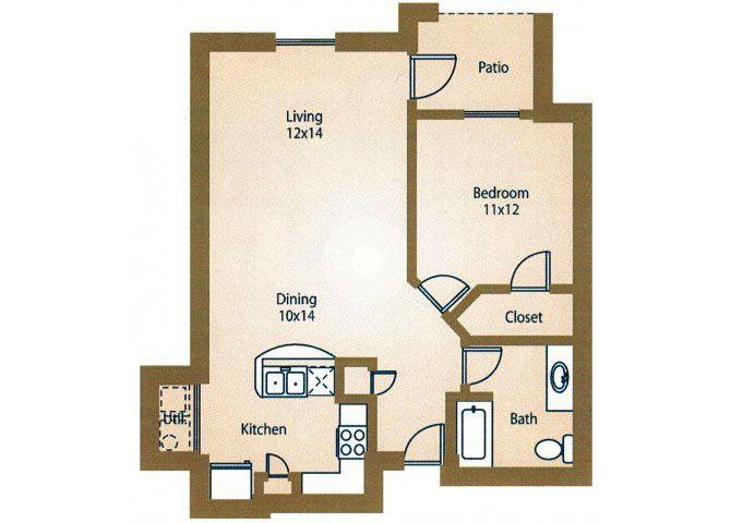 1x1 Floor Plan Apts For Rent Luxe at 1300 Apartments l Waco, TX 76760