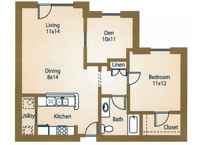 1x1 Floor Plan Rentals Luxe at 1300 Apartments l Waco, TX 76760