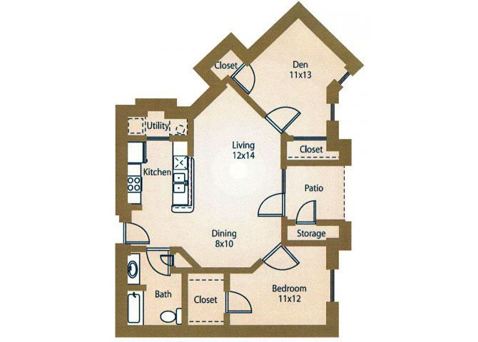 1x1Floor Plan Apt Rentals Luxe at 1300 Apartments l Waco, TX 76760