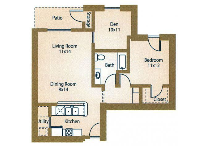 1x1  Floor PlanRentals Luxe at 1300 Apartments l Waco, TX 76760