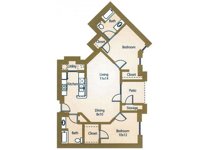 Two BedroomFloor Plan Apts For Rent Luxe at 1300 Apartments l Waco, TX 76760