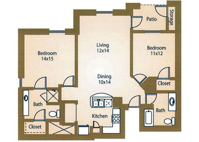 Two Bedroom Floor Plan Apts For Rent Luxe at 1300 Apartments l Waco, TX 76760