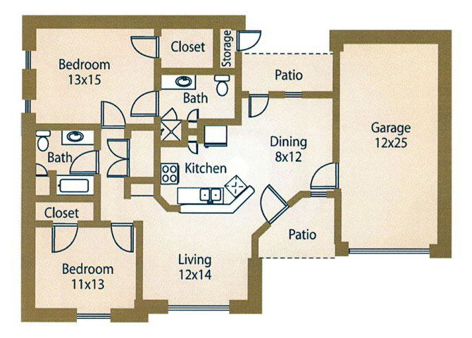 2x2 Floor Plan  Apts For Rent Luxe at 1300 Apartments l Waco, TX 76760