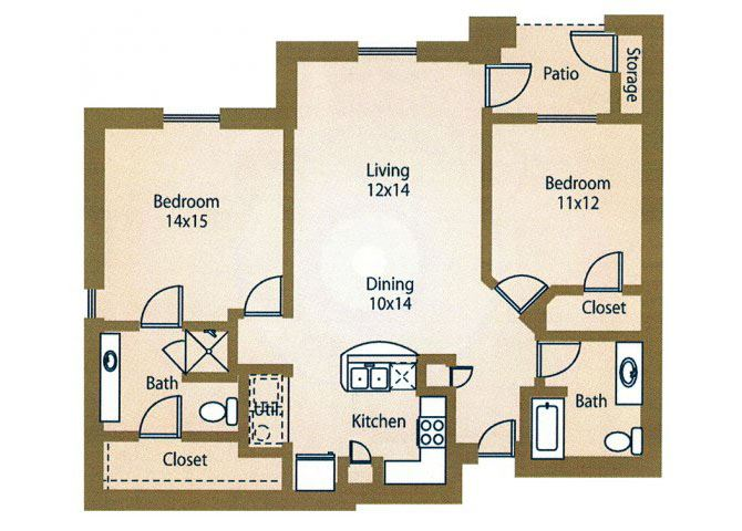 2x2 Floor Plan Apt Rentals Luxe at 1300 Apartments l Waco, TX 76760