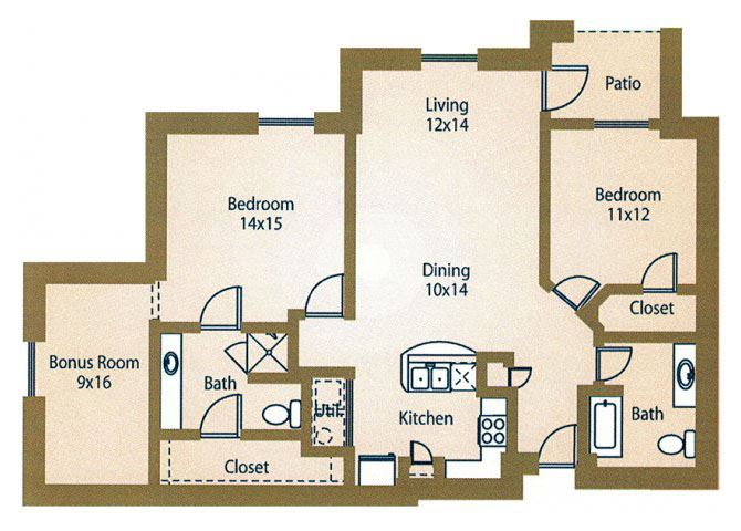 2x2Floor Plan  Apts for Rent Luxe at 1300 Apartments l Waco, TX 76760