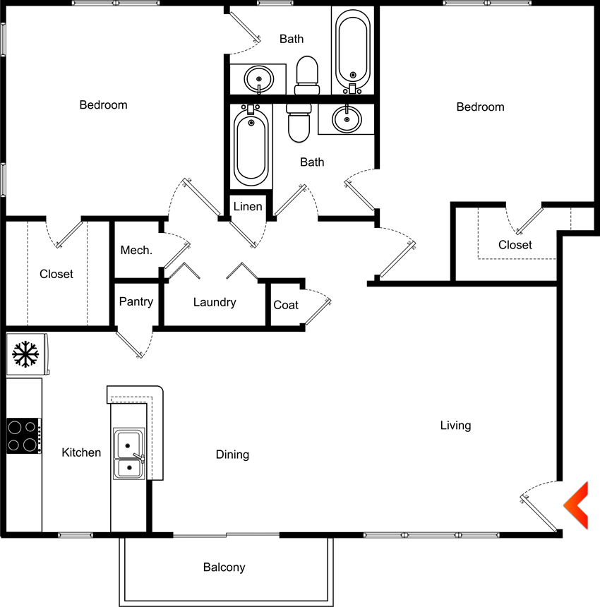 2 Bedroom 2 Bathroom Floor Plan at Highland View Apartments, Georgia, 30306