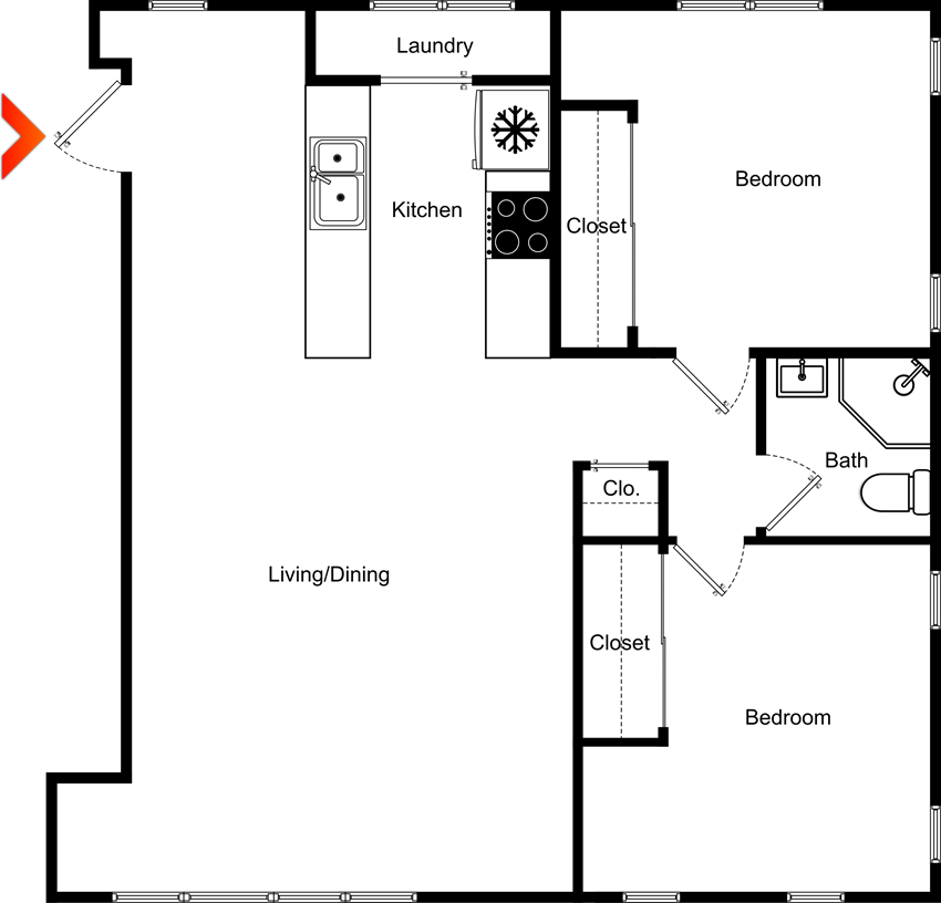 2 Bedroom 1 Bath Floor Plan at Highland View Apartments, Georgia